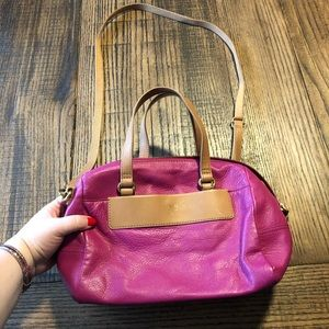Pink and tan Fossil purse
